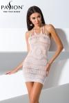 Robe BS063 - Blanc - Mini robe dos nu en résille blanche transparente enrichie de magnifiques motifs.