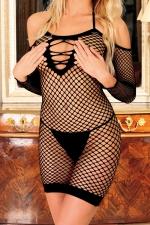 Robe Diable Innocent - Noir - Robe filet à larges mailles sans couture, totalement ouverte dans le dos, et totalement transparente.