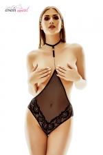Body seins nus Xanthia - Anaïs Lingerie - Body en résille et dentelle seins nus, avec un bijou argent relié à un collier tour de cou.