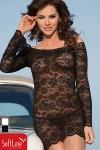 Robe Lamia - Robe à manches longues en résille brodée de Roses, tout simplement sexy.